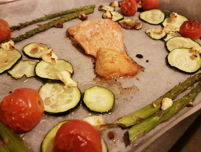 Image of salmon and vegetables